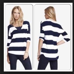 EUC Express Navy Stripe V Neck London Sweater